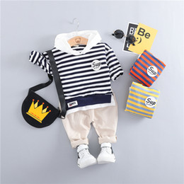 Infants Suits Australia - HYLKIDHUOSE 2019 Spring Toddler Infant Clothes Suits Baby Boys Clothing Sets Hooded Stripe T Shirt Pants Kids Children Costume