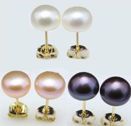 Gp Wedding Australia - FREE SHIPPING + Genuine Natural White Pink Black Akoya Button Pearl GP Stud Earrings
