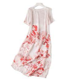 White Character Skirt Australia - Original Sufeng Skirt 2019 New Autumn Sang Silk Silk Red White Lotus Blooming Short Sleeved A-character Skirt Dress