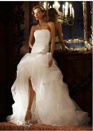 $enCountryForm.capitalKeyWord Australia - Modest High Low A Line Wedding Dresses 2019 Strapless Beaded Sash Long Ruffles Tulle Wedding Gowns for Bride