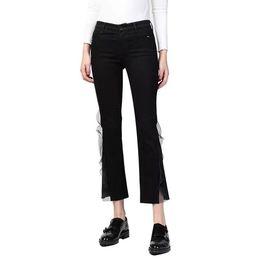Korean female jeans online shopping - Mesh Patchwork Black Denim Pants Women High Waist Flare Pants Jeans Female Casual Spring Fashion Korean New