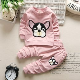cartoon design clothes Australia - New autumn children's suit long-sleeved fashion girls cotton suit casual cartoon design boy clothing suit 3 color free shipping