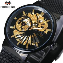 Man Watches Golden Australia - en's Watches Mechanical Wristwatches FORSINING Top Brand Luxury Golden Watches for Men Automatic Mechanical Movement Mesh Strap Ultra Thi...