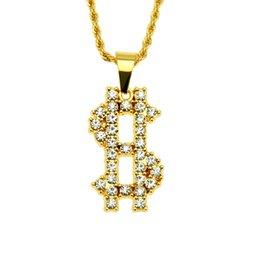 Gold Pendants Charm Wholesale Australia - Gold Hip hop pendant necklace US Dollar money shape charm pendant necklace AAA Crystal rhinestone jewelry wholesale factory direct