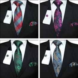 Wholesale Plaid Series Tie Set Fashion Men Classic Silk Hanky Cufflinks Jacquard Woven Necktie Men Business Tie Set TTA-1116