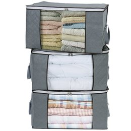Storage Beds Australia - Set of 3 Non-woven Portable Large Clothes Storage Bag Organizer Folding Closet Organizer For Pillow Quilt Blanket Bedding