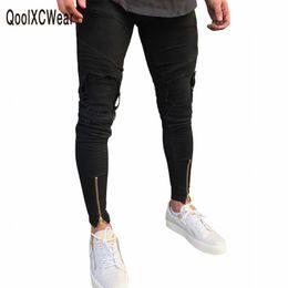 Denim Pants Men Skinny NZ - Qoolxcwear Hot Sell Men Designer Jeans Black Jeans Men Casual Male Jean Skinny Motorcycle High Quality Denim Pants Y190418