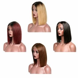 full head brazilian human hair UK - Bob Straight Remy Human Hair 13*4 Lace Front Wigs Hot Selling Full head Set 100% Virgin Brazilian Hair New Designer Fashion Adjustable Cap