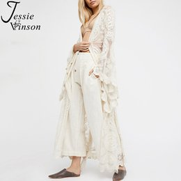 Short Sleeve White Lace Cardigan Australia - Jessie Vinson Fashion Women Plus Size Long Sleeve Perspective Lace Long Cardigan Kimono Beach Swimsuit Cover Up White Overall J190614