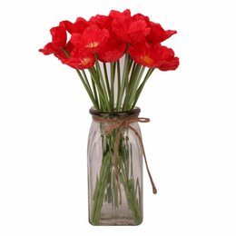 $enCountryForm.capitalKeyWord NZ - 1PC New Artificial Anemones Flowers Real Touch Poppy Branches Burgundy Center For Wedding Bouquets Centerpieces DIY Home Decoration