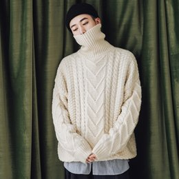 Woolen Knitted Clothes NZ - 2018 Winter Men's Casual Thicken Cashmere Knitting Woolen Sweaters Brand In Warm Pullover Loose Clothes Coats Turtleneck M-XL #556234