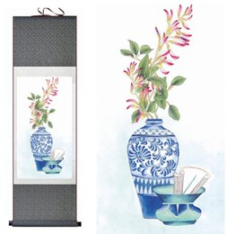 chinese flower decorations UK - Chinese Paintingprinted Painting Flower Painting Home Office Decoration Chinese Scroll Painting