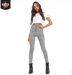 $enCountryForm.capitalKeyWord NZ - 2018 Black White Zip-up Plaid Sexy Pants Sweatpants Women Side Stripe Trousers Sexy High Waist Penicl Pants