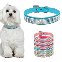 bling small dog collars NZ - Bling Full Rhinestone Dog Collar Padded Genuine Leather Collars Crystal Diamante Studded For Small Dogs Chihuahua Collar Perro