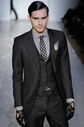 $enCountryForm.capitalKeyWord Australia - Two Button Slim Fit Groom Tuxedos Charcoal Grey Best man Peak Lapel Groomsman Men Dinner Wedding Suits Bridegroom(Jacket+Pants+Tie+Vest)J371