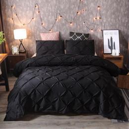 Completo Letto Copripiumino Quilt Cover federa Bedding Set di lusso Nero Nuovo in Offerta