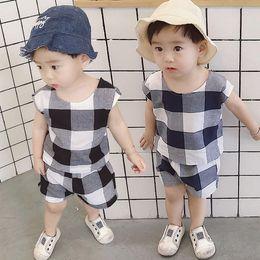 97d3ff6f692a Fashion Baby Boys Clothes Set 2019 Summer Children Clothing 2Pcs Cotton  Plaid Vest Tops Shorts Kids Outfits Sports Suit For