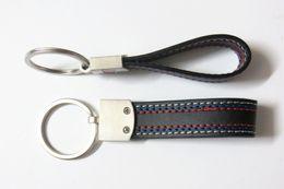 Bmw X5 Chrome Australia - 100PCS Car styling Leather Belt Chrome PU Keyring Keychain Key Chain For BMW M Sport E46 E39 E60 F30 E90 F10 F30 E36 X5 E53 E30