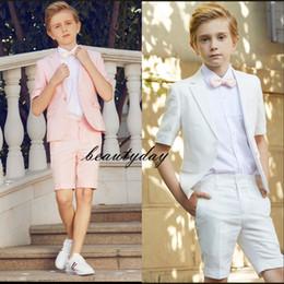 Wholesale Short Pink Kids Formal Wear Boy's Formal Wear Ring Bearer Red White Dinner Party 2 Pieces Set Jacket (Jacket +Short Pants+Bow) Custom Made