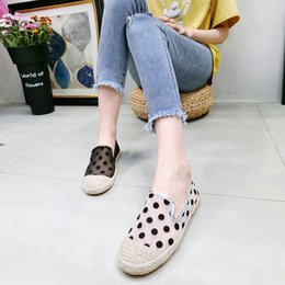 fishermen flats Australia - Women Flats Fisherman Shoes 2019 Summer Fashion Lace Polka Dot Female Loafers Breathable Slip On Woman Summer Shoes Women Loafer