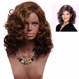 brown wavy medium length wigs Australia - Stylish Women Afro Curls Bob Wigs Short Wavy Brown Hair Wig With Oblique Bangs