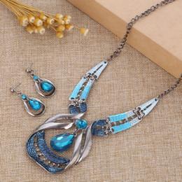 $enCountryForm.capitalKeyWord Australia - Vintage Silver Jewelry Sets Blue Crystal Dangle Earrings Necklace Wedding Jewelry Sets Ethnic Choker Necklace Big Crystal Sets