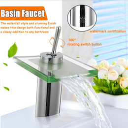 $enCountryForm.capitalKeyWord Australia - Modern Square Glass Waterfall Mixer Tap Spout Bathroom Basin Faucet Single Handle Hole Vanity Sink Faucet Deck Mounted
