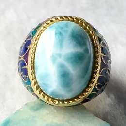 larimar rings Australia - Natural Larimar Silver Ring, Oval 12mm*16mm, Rare Blue Larimar Stone, Fashion And Popular For Parties J 190430