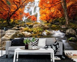 Autumn wAllpApers online shopping - Custom wallpaper autumn scenery TV background wall natural scenery living room sofa background wall d wallpaper