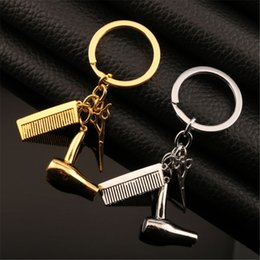 Wholesale Comb Scissor Pendants Australia - Men Hair Dryer Combs Scissors Pendant Keychain Sliver Gold Hairdressing Tools Hair Stylist Scissor Blow Salon Car holder Key Ring