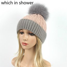 16c9231489d Fashion Women Warm Wool Knitted Hat Patchwork Real Fox Fur Pompom Winter  Hat Cap Pompon Female Ear Flap Skullies Beanie