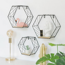 wood wall hangings art Australia - Wood Iron Art Hexagonal Grid Wall Shelf Combination Wall Hanging Geometric Figure Wall Decoration For Living Room Bedroom