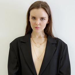 $enCountryForm.capitalKeyWord Australia - KingDeng Long Necklace Big Circle Gold Women Fashion Punk Gothic Jewelry Pendant Double Layer Zinc Alloy Geometric Chain