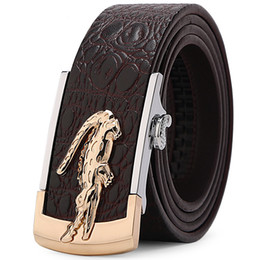 Automatic Buckle Leather Belt Crocodile UK - High-quality men's belt automatic buckle waistband high-end commercial crocodile pattern brand leather belt gift box free of freight