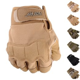 leather cycle gloves half finger NZ - Outdoor Gloves Men Sports Military Tactical Hunting Hiking Glove Half Finger Paintball Camping Motorcyle Racing Cycling Gloves