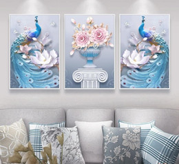 couple painting art UK - New Western Style Abstract 3 Pieces Three-dimensional Couple Peacock Vase Printed Canvas Painting Living Room Wall Art Pictures