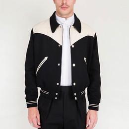 Black sheep jacket online shopping - 19FW Color Matching Jacket Sheep Skin Wool Splice Baseball Jacket Stitching Fashion Coats Autumn Winter Street Hip Hop Outerwear HFYMJK246