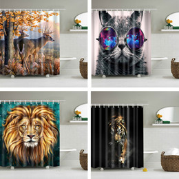 $enCountryForm.capitalKeyWord Australia - Animals printed lion, tiger, cat 3d bath curtains waterproof polyester fabric washable bathroom shower curtain screen with hooks SH190919