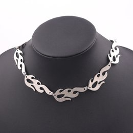 $enCountryForm.capitalKeyWord Australia - New Stainless Steel Flame Necklace Unisex Punk Harajuku streetwear Choker Necklaces Accessory Hiphop Rock Cool Chain necklace