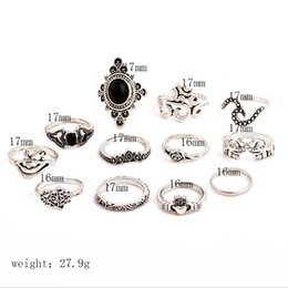 infinite rings NZ - 13 PCS Set Retro Flower Infinite Knuckle Rings For Women Vintage Geometric Pattern Crystal Rings Set Party Bohemian Jewelry