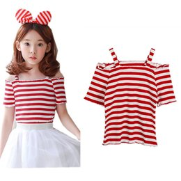 kids off white t shirts 2019 - 3 to 12 years kids & teenager big girls 2018 summer red white striped off the shoulder cotton casual t shirts clothes ch