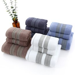 $enCountryForm.capitalKeyWord Australia - New Luxury 3pcs set 100% Cotton Towel Set 2 Face towel Washcloth+1 Bath Towels Bathroom Set for Adult Guest Bathrooms Gym