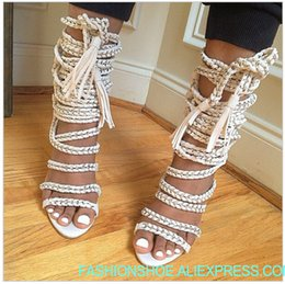f4016c6a3bc5d4 Sexy Chains Rope Women Sandals High Heels Stiletto Tassel Lace Up Gladiator  Sandals Botas Strappy Celebrity Summer Shoes Woman