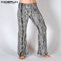 khaki yoga pants 2019 - INCERUN Fashion Pants Men Leopard Print Workout Joggers Casual Elastic Waist Loose Trousers Men Yoga-pants Pantalon Homb