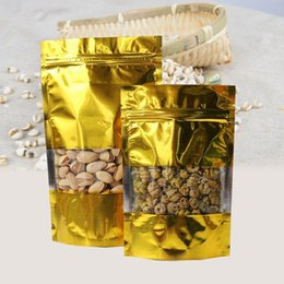 "Snack Pack Wholesale Australia - 400Pcs Lot 16*24cm Snack Clear Gold Doypack Storage Heat Seal Aluminum Foil Pack Bag 6.29""x9.44"" Mylar Valve Pouch With Window"