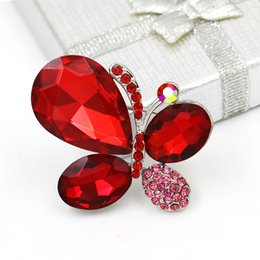 emerald clothing UK - baiduqiandu Shinning Blue   Red   Purple Glass Crystal Butterfly Brooch Pins for Women Dress Clothes Jewelry Accessories