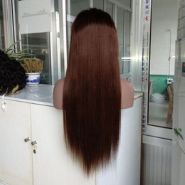 brazilian hair stocking NZ - Pre Plucked Hairline #4 Color Human Hair Full Lace Wig 22 Inch Brazilian Remy Hair Lace Front Wig in Stock !