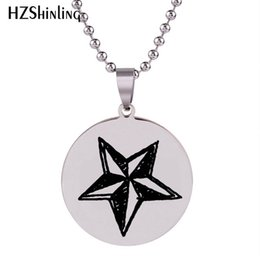 ball chain craft NZ - 2019 New Star Necklace Silver Round Stainless Steel Pendant Necklaces Art Hand Craft Jewelry Ball Chain Gifts For Men HZ7