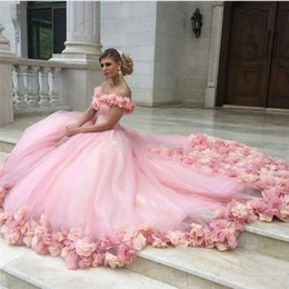 fe9f4328726f Pink Off The Shoulder Alinanova Bridal Gowns Custom Made Tulle Flower Ball Gowns  Wedding Dresses Handmade Flower Plus Size