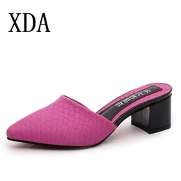 Summer Ladies Sandals Australia - XDA 2019 New Summer High Quality pointed toe Ladies shoes mid Heels slipper Women Sandals Ladies Slipper Shoes fashion sandals